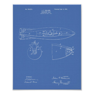 Submarine Boat 1902 Patent Art Blueprint Poster