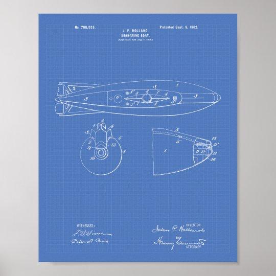 Submarine Boat 1902 Patent Art Blueprint Poster