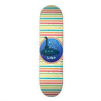 Submarine Bright Rainbow Stripes Custom Skate Board