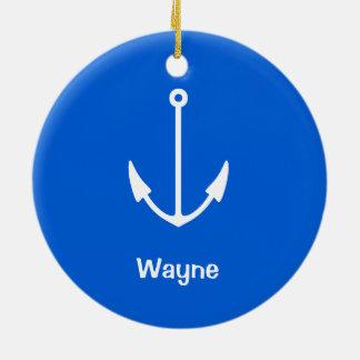 Submarine Your Text Anchor Christmas Ornament
