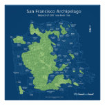 "Submerged San Francisco streetmap 36x36"" 200ft Poster"