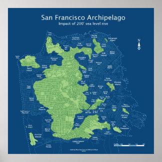 "Submerged San Francisco streetmap 36x36"" 200ft Poster"