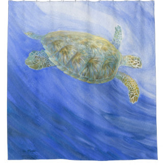 Submerging Sea Turtle Shower Curtain