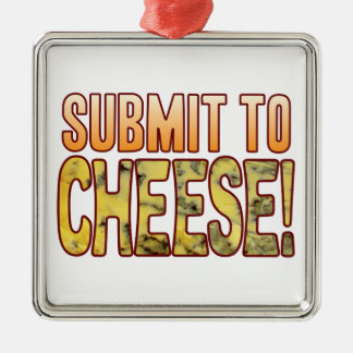 Submit To Blue Cheese Silver-Colored Square Decoration