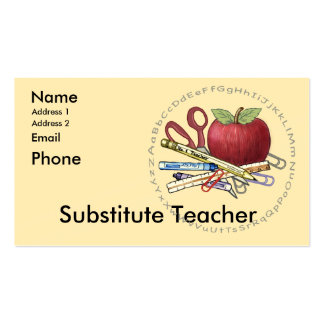 Substitute Teacher Double-Sided Standard Business Cards (Pack Of 100)