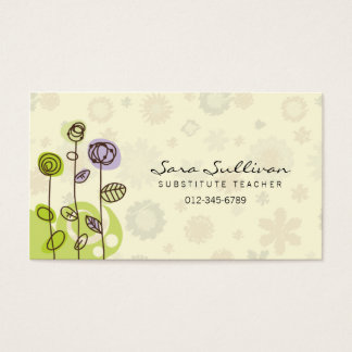 Substitute Teacher Business Card Doodle Flowers