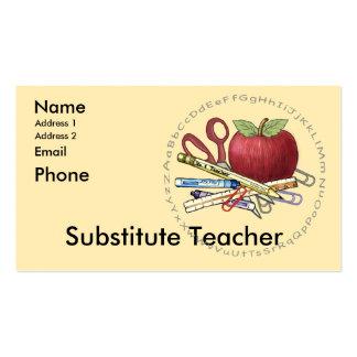 Substitute Teacher Pack Of Standard Business Cards