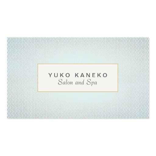 Subtle Chevron and Light Blue Chic Salon and Spa Business Card