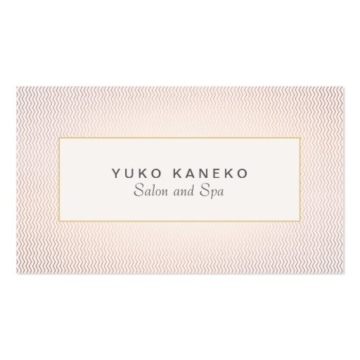 Subtle Chevron and Light Pink Chic Salon and Spa 2 Business Cards