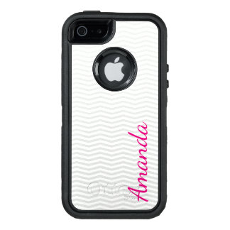 Subtle Classic Gray Chevron with Bold Name OtterBox Defender iPhone Case