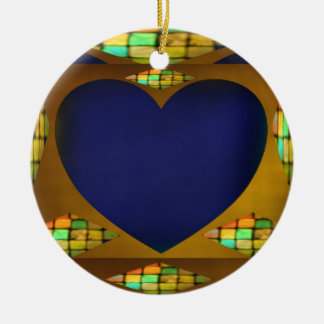 Subtle Heart on Gold Double-Sided Ceramic Round Christmas Ornament