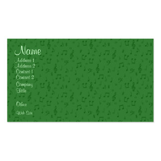 Subtle Musical Notes in Green Business Card