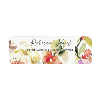 SUBTLE PEACH PINK WATERCOLOR FLORAL ADDRESS