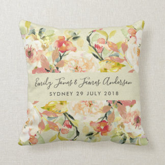 SUBTLE PEACH WATERCOLOR  FLORAL SAVE THE DATE GIFT CUSHION
