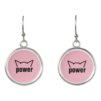 Subtle Pussy Power Cat Ears Pink Resistance Women Earrings