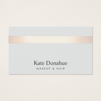Subtle Rose Gold Striped Elegant Stylish Gray 2 Business Card