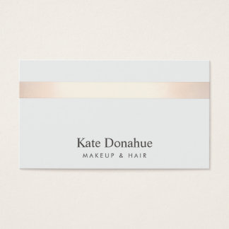 Subtle Rose Gold Striped Modern Stylish Gray Business Card