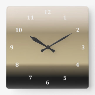 Subtle Shades of Beige to Black Ombre Gradient Square Wall Clock