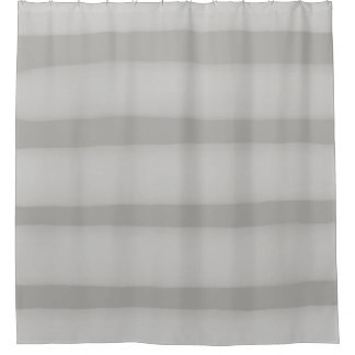 Subtle White Watercolor Stripe on Gray Shower Curtain