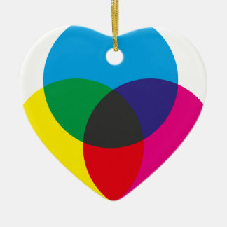 Subtractive Color Mixing Chart Ceramic Heart Decoration