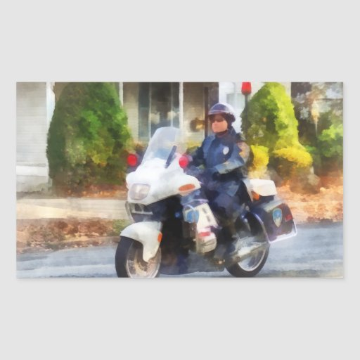 Suburban Motorcycle Cop Rectangle Sticker
