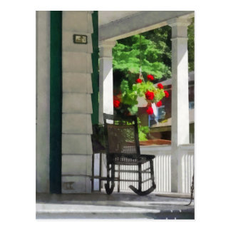 Suburbs - Porch With Rocking Chair and Geraniums Postcard