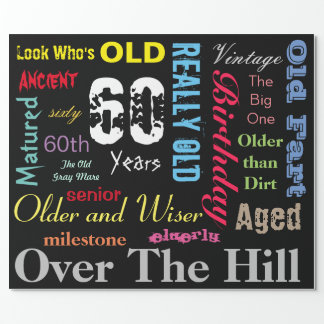 Subway Art 60th Happy Birthday | Milestone Wrapping Paper