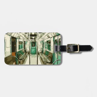 Subway Car Within the Metal Luggage Tag