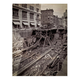 Subway Excavation Seventh Ave and 24-25th NYC Postcard