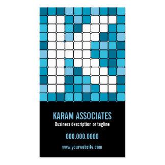 Subway Tile Cerulean Monogram K Business Card