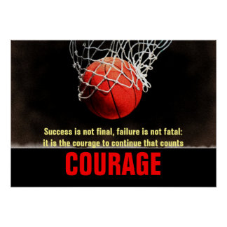 Success Courage Basketball Inspirational Poster