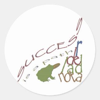 Success is a path round sticker