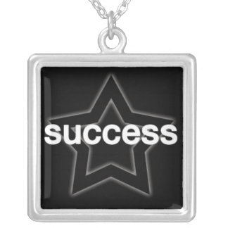 Success on a Star Background Square Pendant Necklace