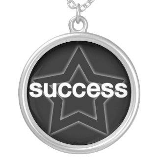 Success on a Star Background Round Pendant Necklace