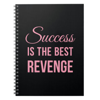 Success Revenge Inspirational Quote Black Pink Spiral Notebook