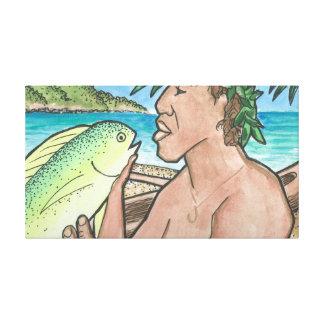 Successful Hawaiian Fisherman 36 x 20 Stretched Canvas Prints