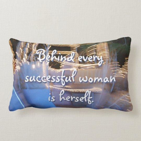 """Successful woman"" quote photo lumbar pillow"