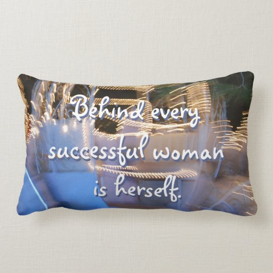 """Successful Woman"" Quote Sparkly Gold Coach Photo Lumbar Cushion"