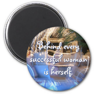 """Successful woman"" quote sparkly gold photo magnet"