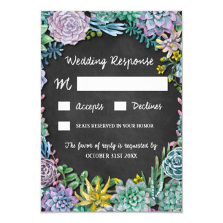 Succulent and Chalkboard Rustic Wedding RSVP Cards