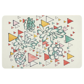 Succulent and triangles Floor Mat