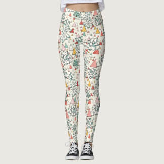 Succulent and triangles pattern leggings