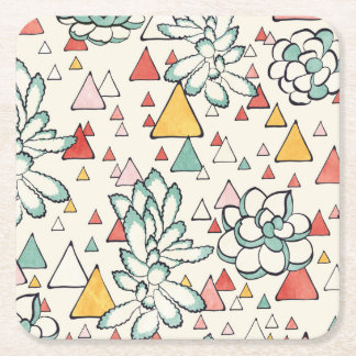 Succulent and triangles Square Coasters