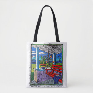 Succulent Block Print and Bikes in the Courtyard Tote Bag