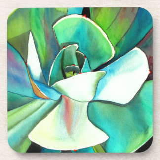 Succulent blue and green desert watercolour art beverage coasters