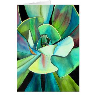 Succulent blue and green desert watercolour art greeting card
