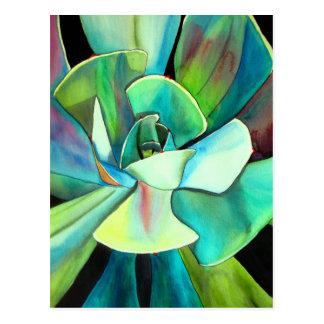Succulent blue and green desert watercolour art postcard