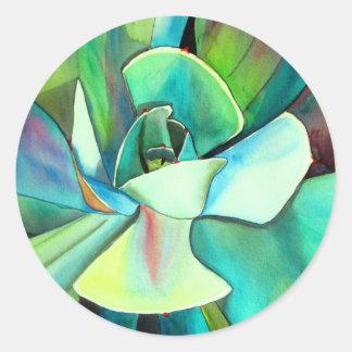 Succulent blue and green desert watercolour art round sticker