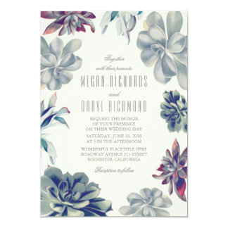 Succulent Bouquet - Floral Botanical Wedding Card
