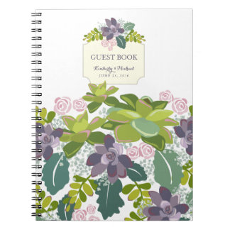 Succulent Bouquet II Floral Wedding Guest Book